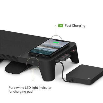 EYES 8 BLACK- Hızlı Wireless Şarj Hazneli - USB SD Kart HUB Çoklayıcılı Monitör Stand