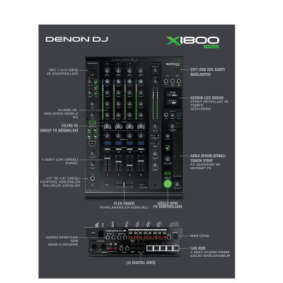 X1800 Prime 4 Kanal Profesyonel DJ Mikseri